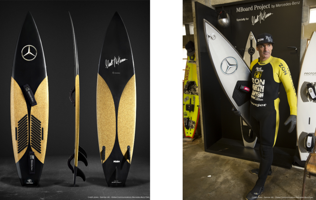 Planches de surf signées Mercedes-Benz et Garrett McNamara